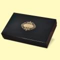 Коледа и Нова година - Подаръчна кутия с капак 37x23/7, черна с печат